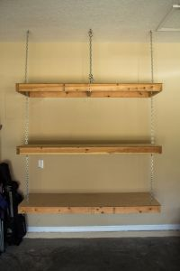 Hanging garage shelves. Eye bolt in ceiling goes through ...