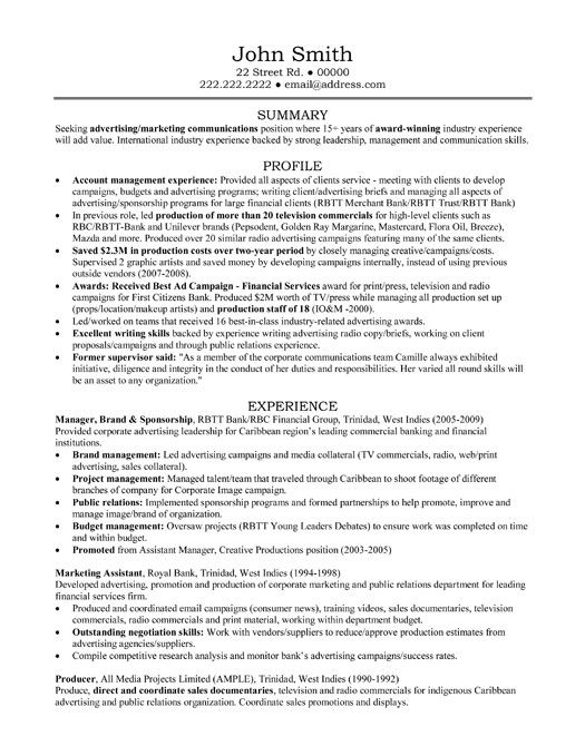 Advertising Agency Resume Examples