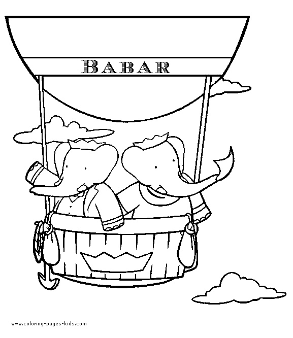 Elephants in a hot air balloon coloring page. Does anyone