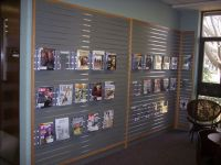 A great way to display periodicals using slat wall and ...