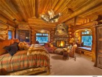 cozy log cabin bedroom with fireplace | Make mine rustic ...
