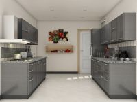Grey modular kitchen designs | Parallel shaped Modular ...