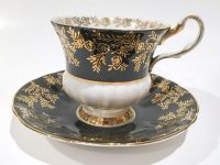 Society Tea Cup and Saucer, Black White Tea Cups, Tea Set