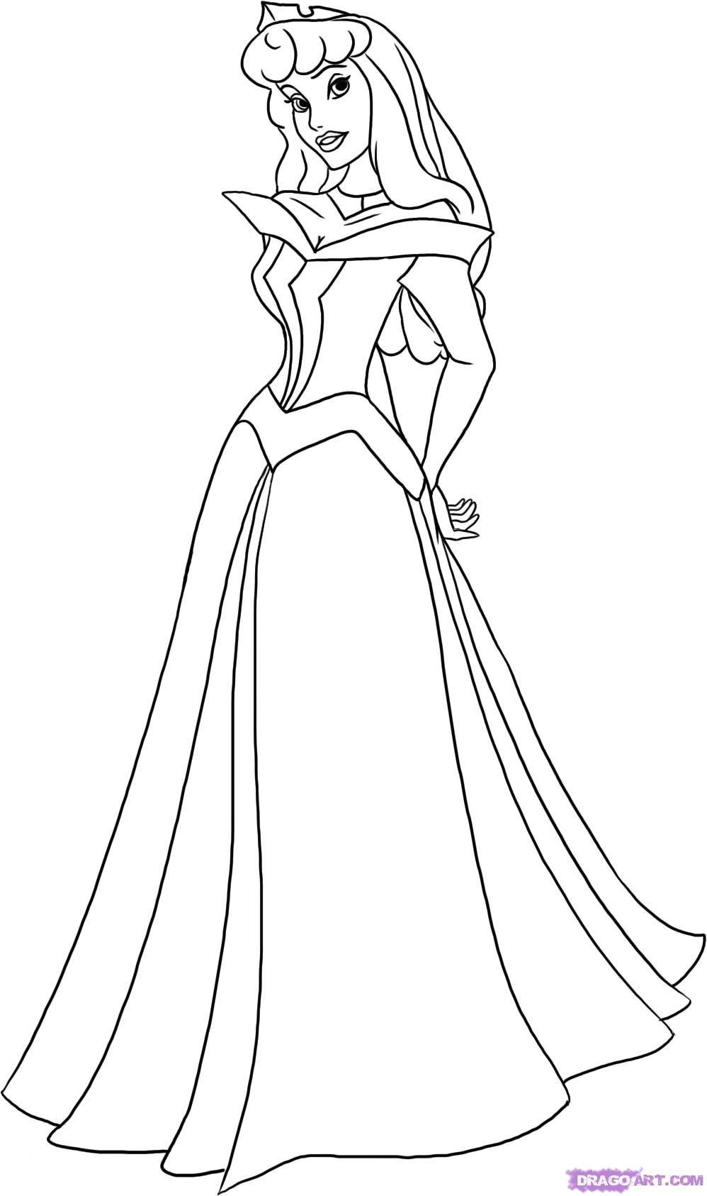 how to draw sleeping beauty, princess aurora step 5