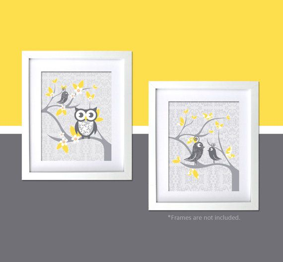 Modern nursery wall art gray yellow by fancyprintsforhome also rh pinterest