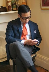 Linen jacket and Hermes knit tie | The Navy Blue Jacket ...