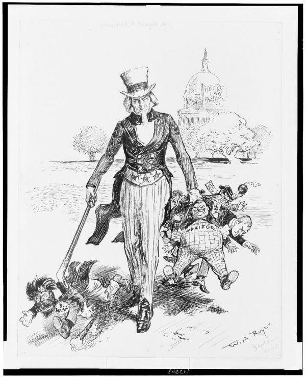 Image: Sedition Act political cartoon by W.A. Rogers, 1918