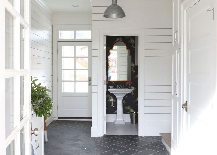 Slate floors with pale grout penny tile in the bathroom white everywhere also midway house mudroom flooring and