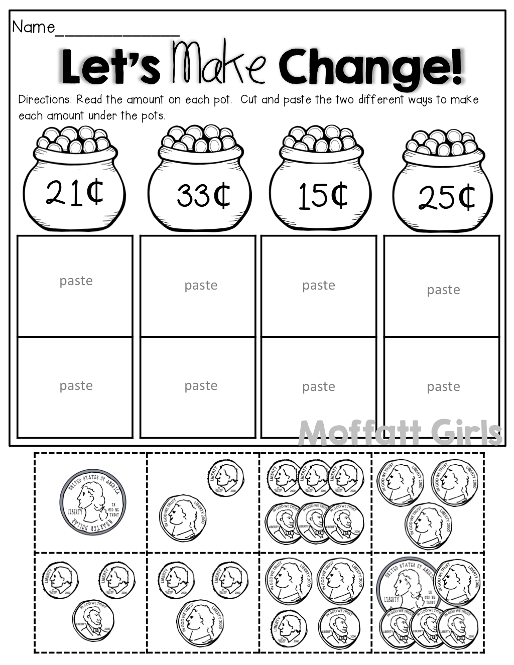 Count The Coins Cut And Paste To Make Change 2 Different Ways