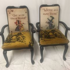 Alice In Wonderland Chair Pillows For Bed Dining Room Black High Backed