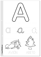 Free printable Spanish alphabet pages with traceable
