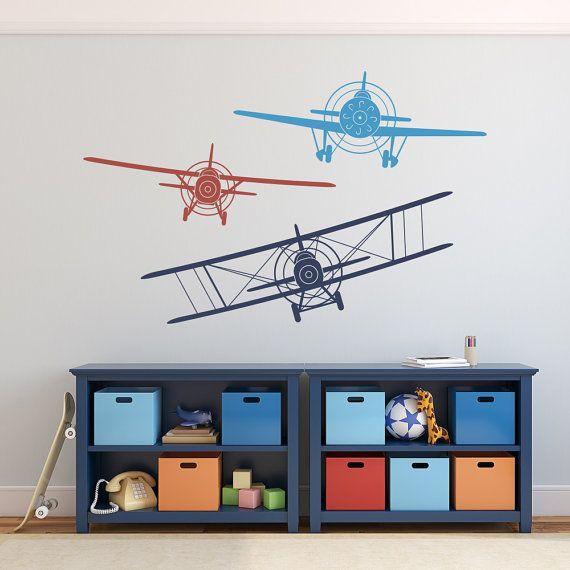 Biplane monoplane wall decal airplanes decals nursery boy also rh pinterest