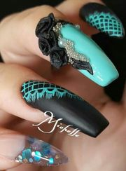 turquoise blue black matte nails