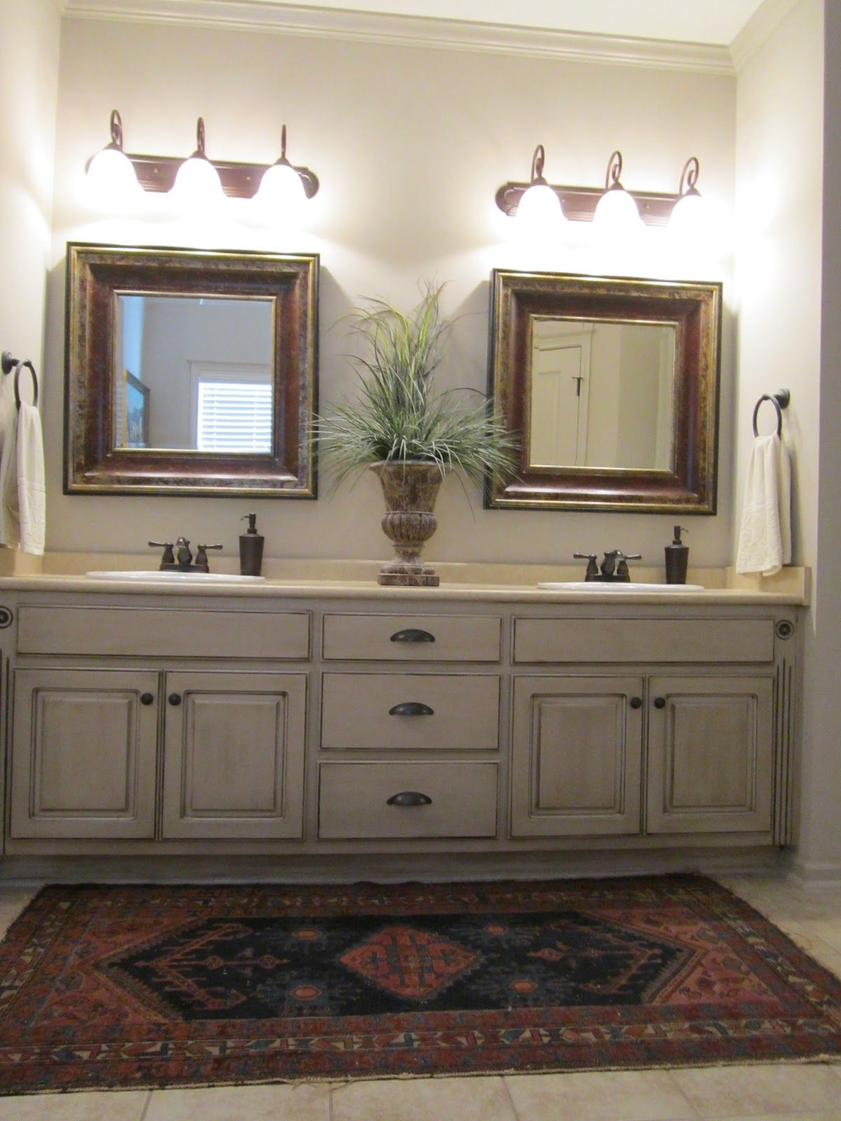 Painted Bathroom Vanity Love These Painted Bathroom Cabinets And The Lights What