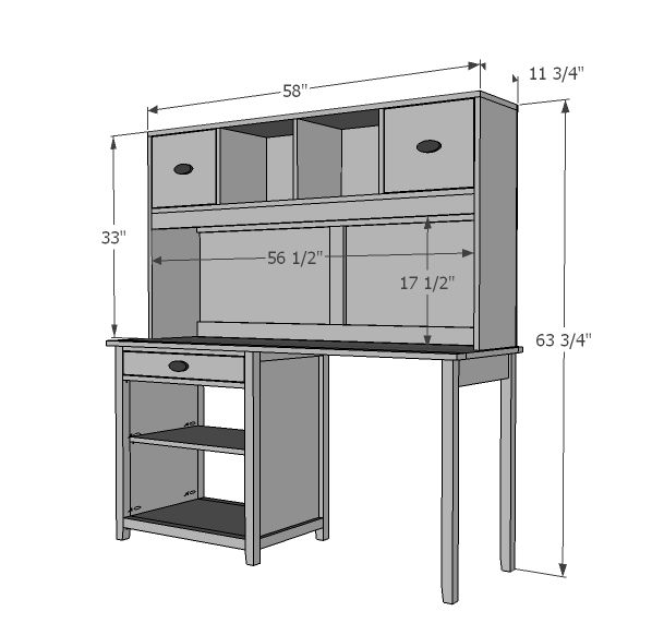 Ana White  Build a Channing Desk Hutch  Free and Easy