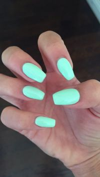 "Coffin nails with Gelish ""do you harajuku"" mint nail color"