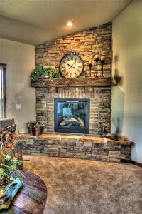Stone And Brick Corner Fireplace Design : Corner Fireplace