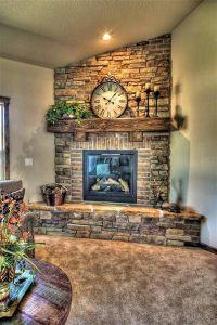 Stone And Brick Corner Fireplace Design : Corner Fireplace ...