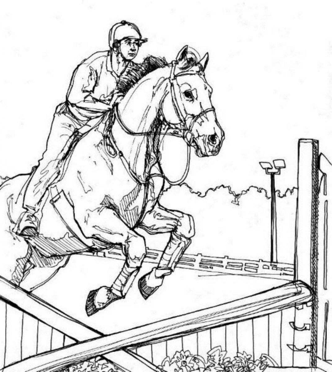 Coloring Pages Horses Jumping
