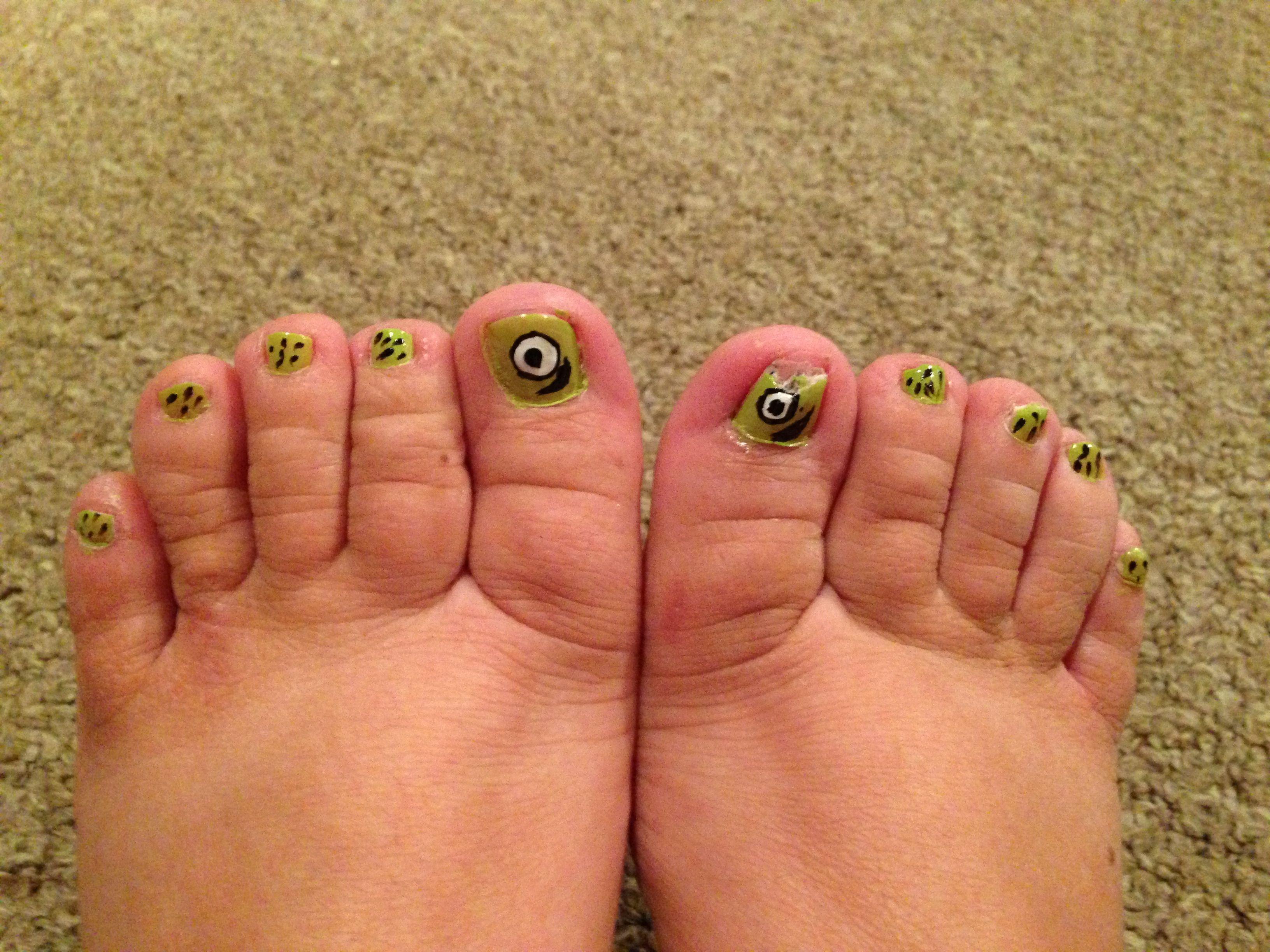 Monsters Inc inspired toenails