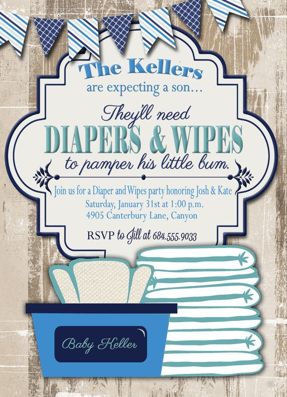 Baby Shower Invitations Diapers And Wipes