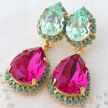Fuschia chandelier earrings chandelier ideas related image jewelry pinterest bling and aloadofball