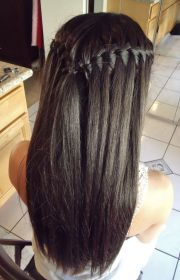 waterfall braid long straight