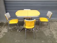 1950's 60's Retro Vintage Yellow Chrome Formica Kitchen
