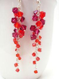 Red Swarovski Crystal Earrings, Long Red Earrings, Red ...