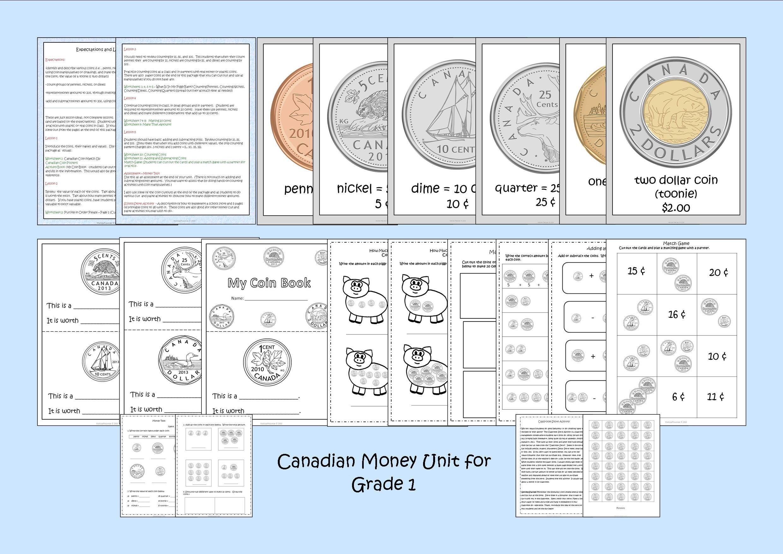 Canadian Money Unit For Grade 1 Ontario Curriculum