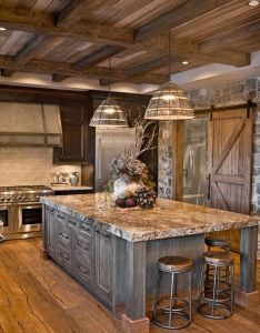 rustic kitchen farmhouse style ideas that you must see also love the ceiling and barn door way to dark for rest of it rh pinterest