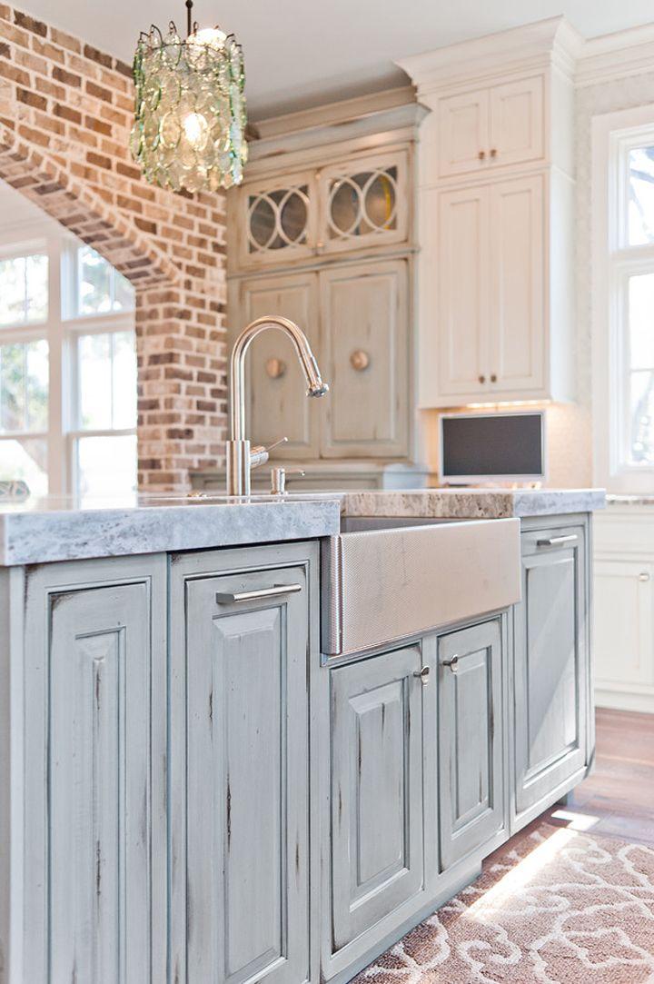 distressed blue kitchen island  Dove Studio  Cool