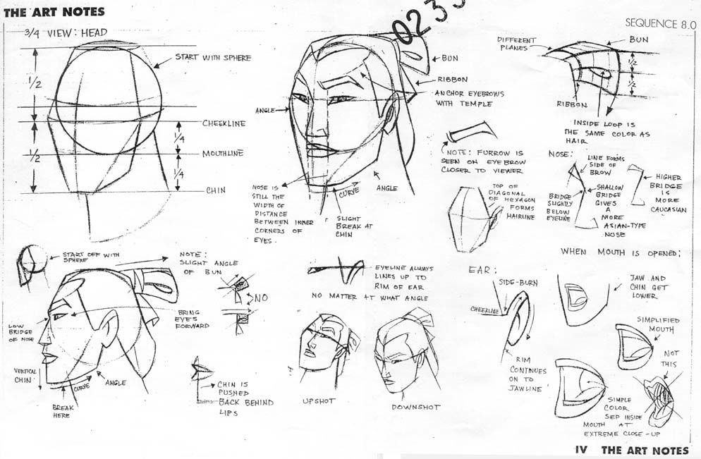 Concept art and profile sketches of Shang from Disney's