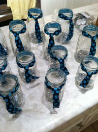 Mason jars with ties Baby boy shower table decorations ...