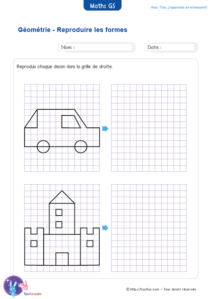 Fiche Maternelle Maths GS Reproduction sur un quadrillage