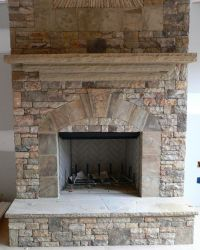 Stacked Stone Fireplace   Real Stack Stone   mantles ...