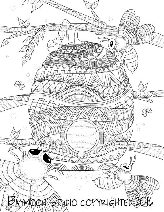 Honey Bee Hive Coloring Page, Printable Coloring Pages