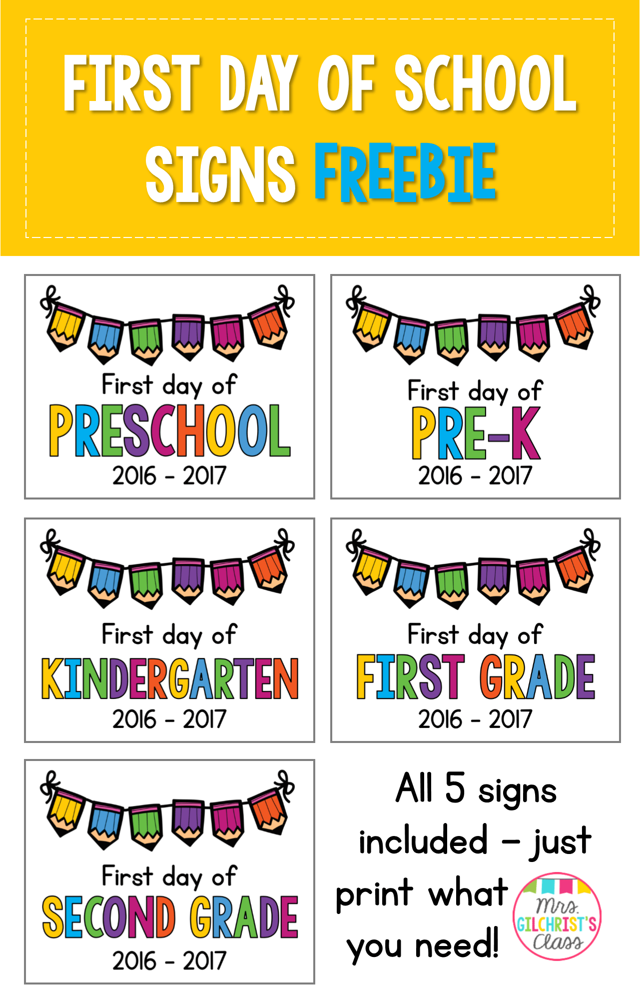 First Day Of School Printables For Second Grade