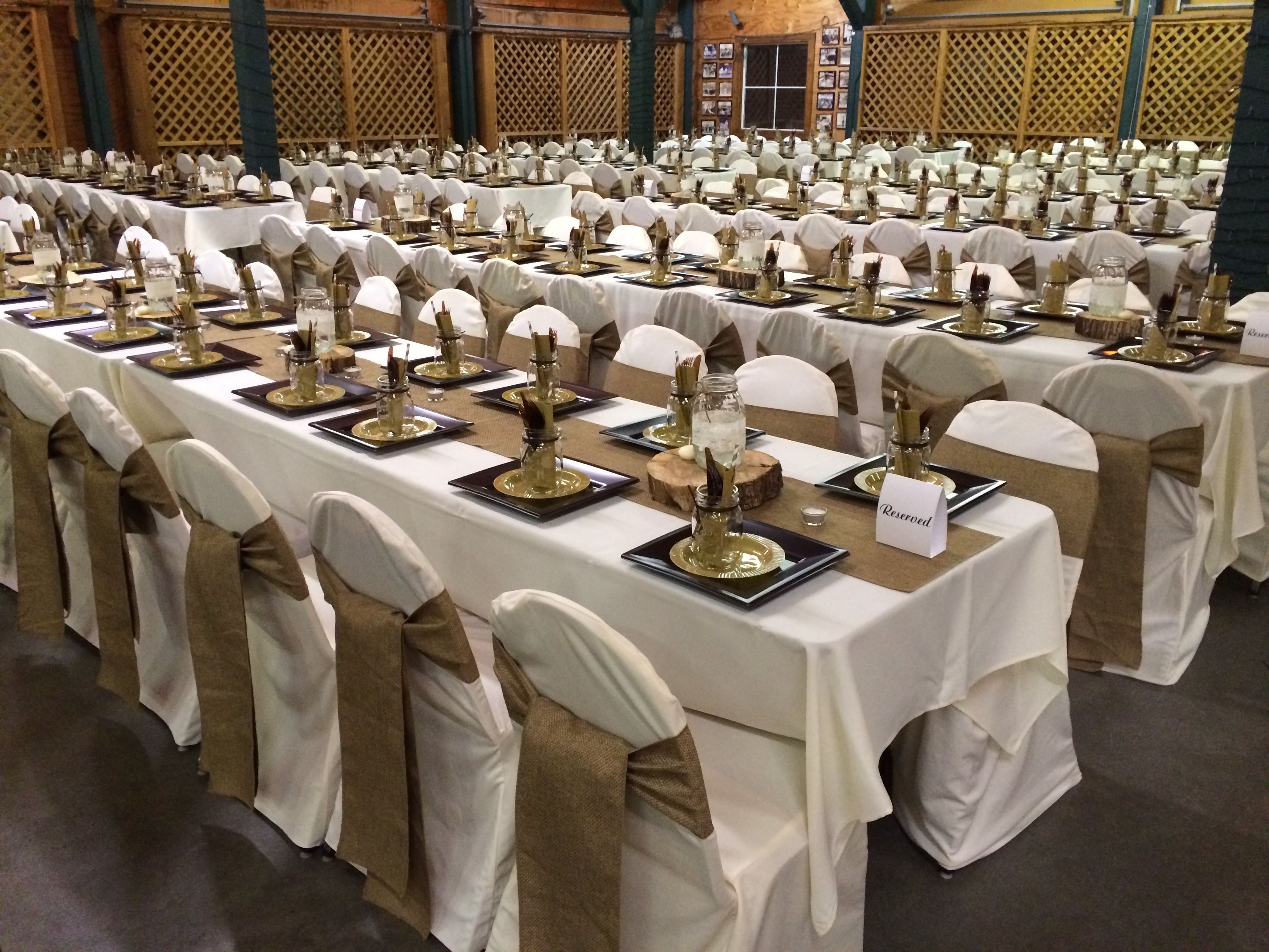 rent tablecloths and chair covers polywood folding adirondack chairs burlap table runners sashes ivory