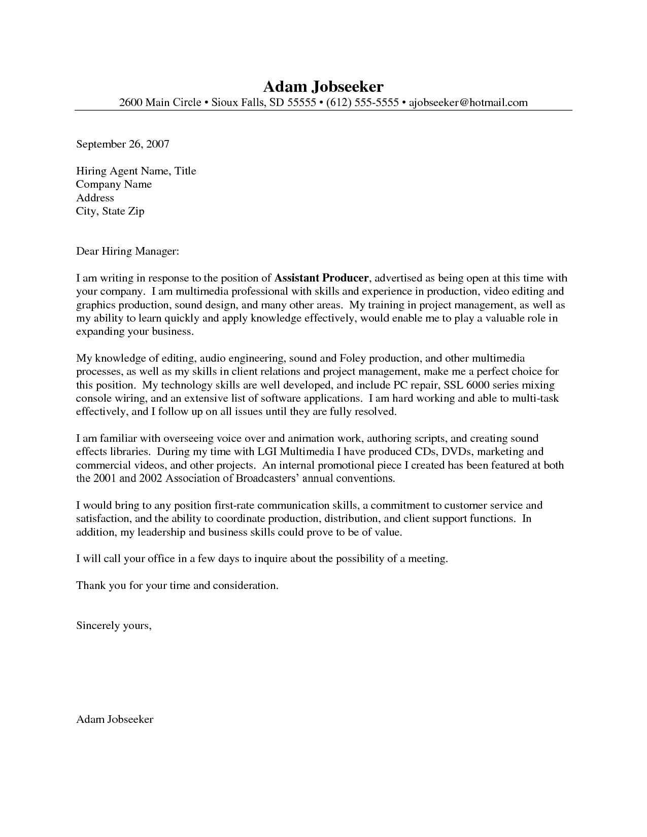 It Project Manager Cover Letter Examples Image collections - Cover ...