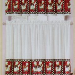 Red Valances For Kitchen Windows Rolling Cart Fat Italian French Bistro Chef Black White ...