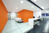 Comfortable White Orange Wall Colors For Modern Office ...