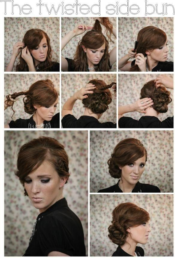 Twisted Side Bun Updo Hairstyles Tutorial Formal' Updo And Side