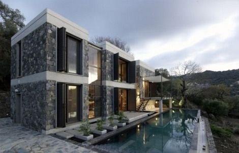 Modern Stone House Green Design Architecture Modern But