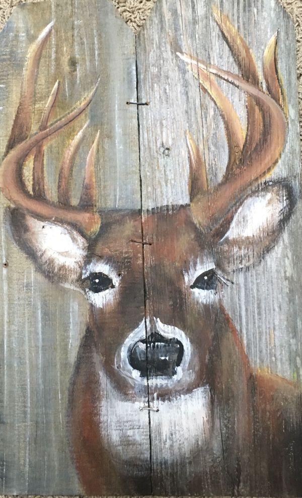 Deer Painting On Wood