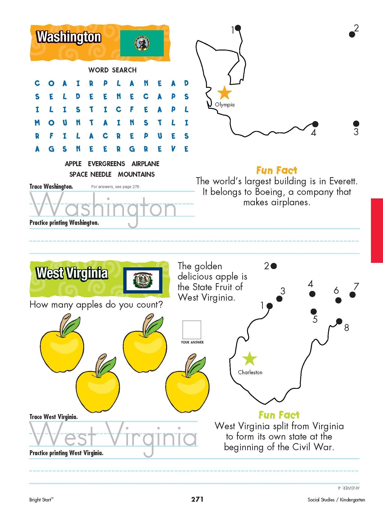 Washington And West Virginia Your Kindergartener Can Practice Writing The State Name And Learn