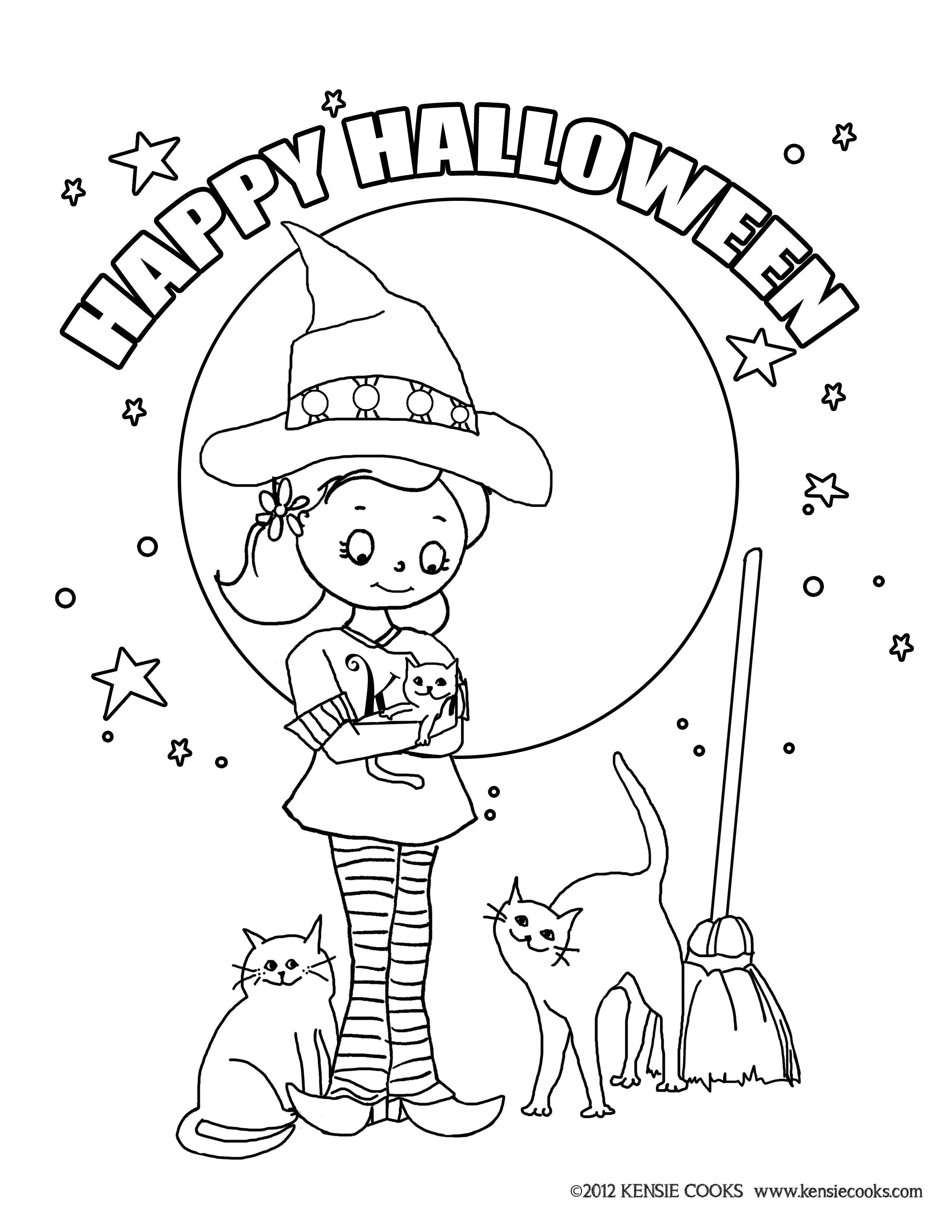 Kensie Cooks Halloween Coloring Page. Kensie dressed as a