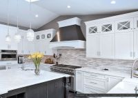 White gray cabinet marble countertop marble subway kitchen ...