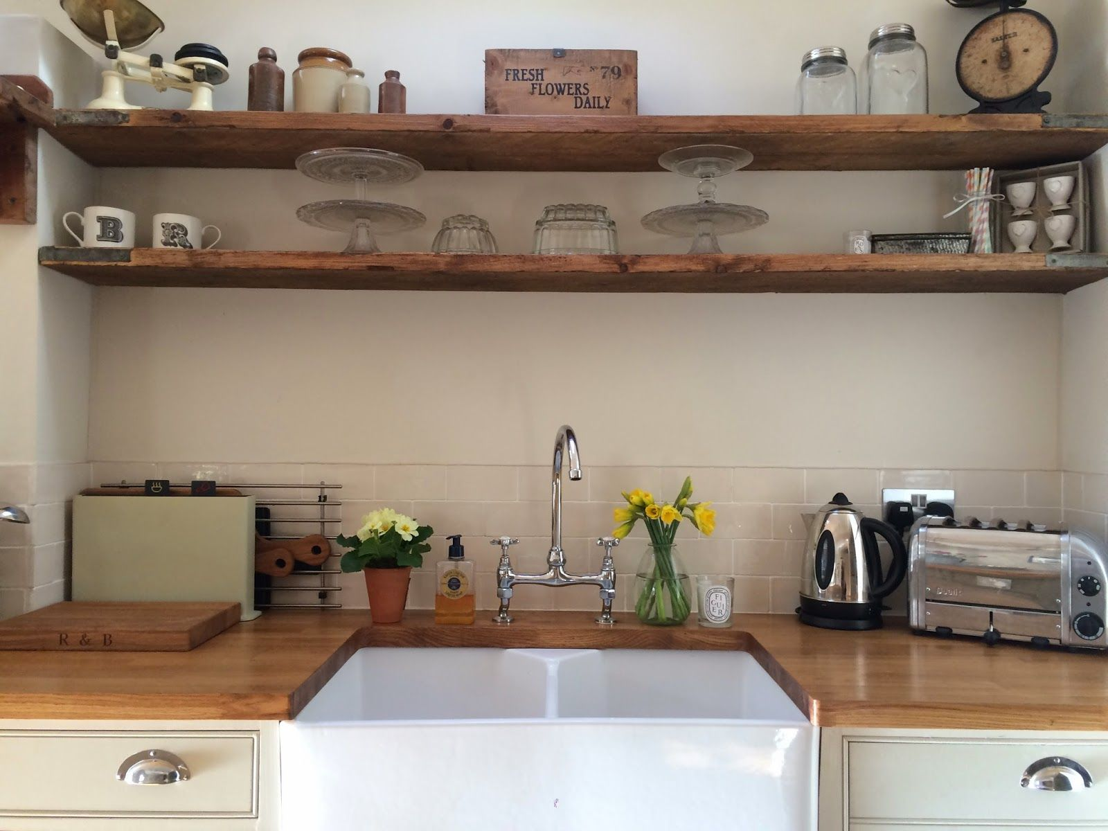country shelves for kitchen spotlights roses and rolltops makeover scaffold board
