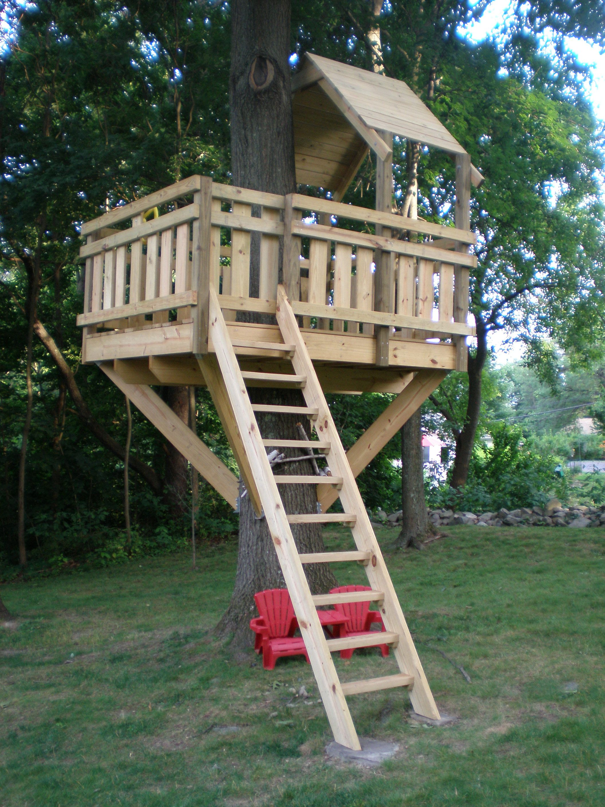 Tree Fort Ladder Gate Roof Finale Back Gardens For Kids And